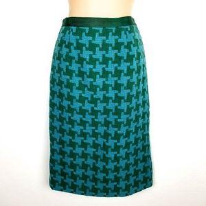 Boden Houndstooth Wool Blend Pencil Skirt